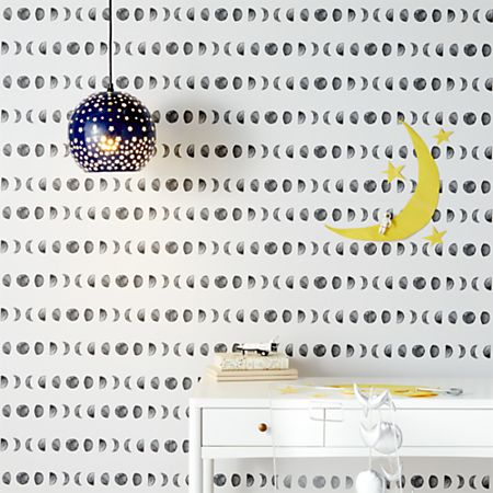 Chasing Paper Black and White New Moon Removable Wallpaper + Reviews |  Crate and Barrel