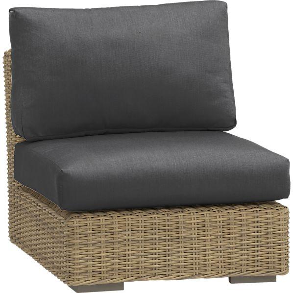 Newport Modular Armless Chair with Sunbrella ® Charcoal Cushions