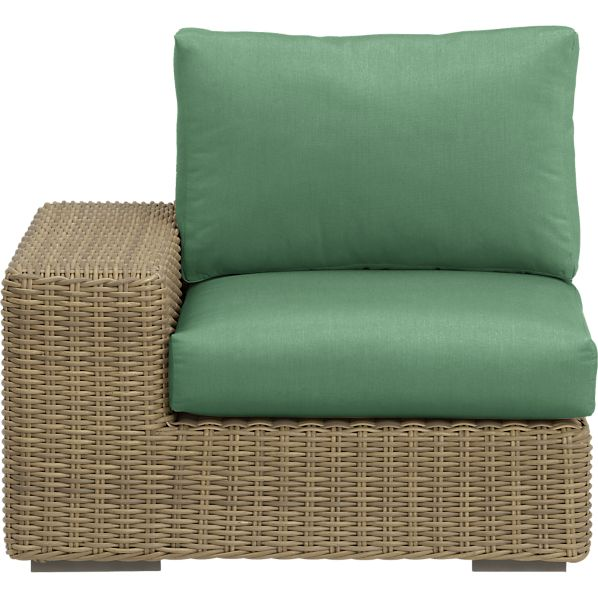 Newport Modular Left Arm Chair with Sunbrella ® Bottle Green Cushions