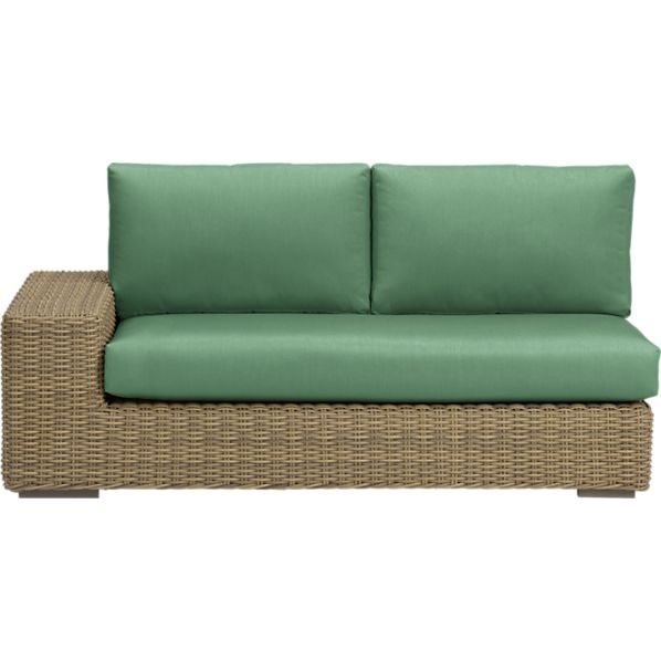 Newport Modular Left Arm Loveseat with Sunbrella ® Bottle Green Cushions
