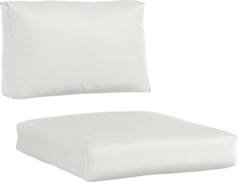 Warm white sand cushions add a soft silhouette to our Newport lounge collection. Polyester-filled cushions are covered in fade-, water- and mildew-resistant Sunbrella® acrylic fabric.<br /><br /><NEWTAG/><ul><li>Fade- and mildew-resistant Sunbrella® acrylic</li><li>100% polyester fill</li><li>Cover or store inside during inclement weather</li><li>Spot clean</li><li>Made in USA</li></ul>