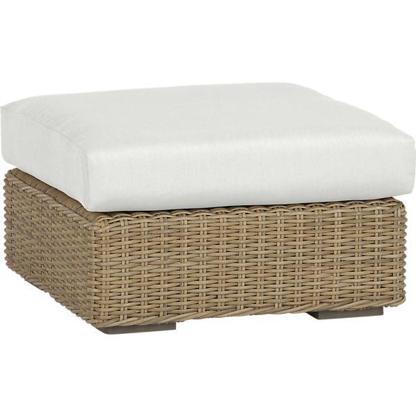 Newport Ottoman with Sunbrella ® White Sand Cushion