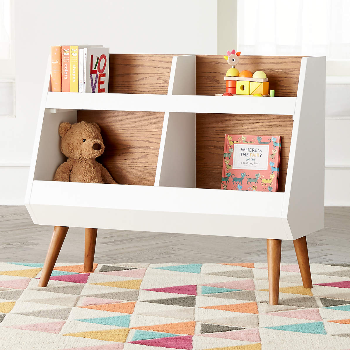 Image of: Walnut And White Mid Century Bookcase Reviews Crate And Barrel
