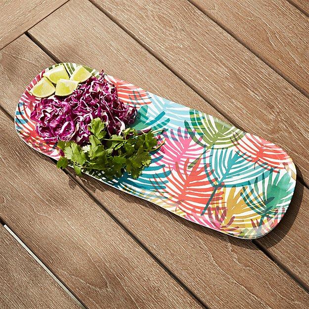 Nico Palm Melamine Platter - Image 1 of 5