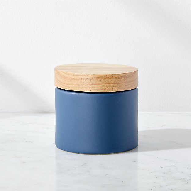 Niko Small Blue Ceramic Canister With Wood Lid Reviews