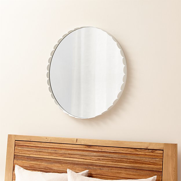 Ninna white scalloped mirror crate and barrel for White round wall mirror