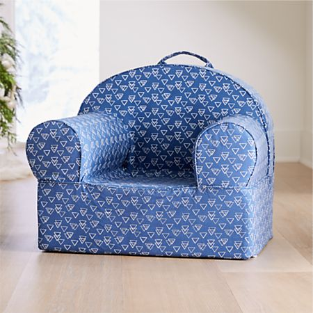 Groovy Large Blue Triangle Nod Chair Cover Crate And Barrel Machost Co Dining Chair Design Ideas Machostcouk