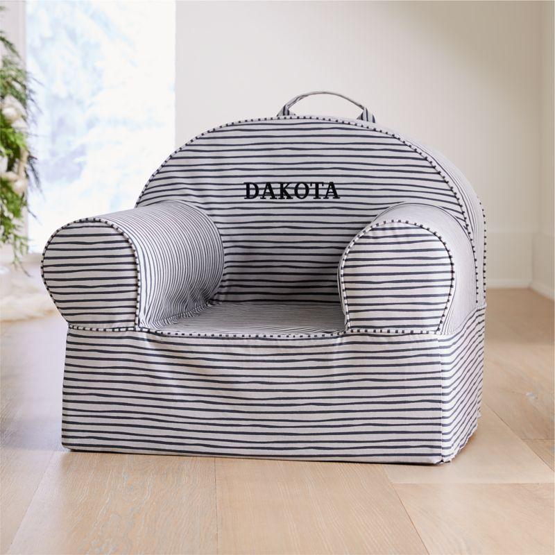Awe Inspiring Large Grey Stripe Nod Chair Machost Co Dining Chair Design Ideas Machostcouk