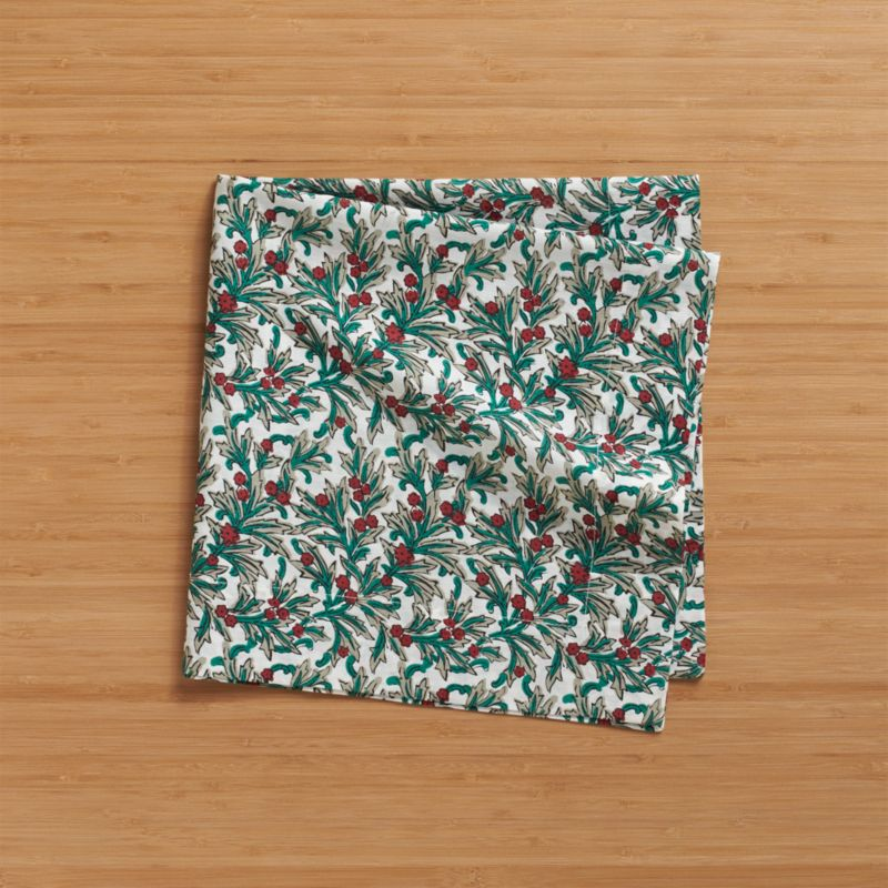 Intricate tangle of green and grey vines sprout bright red berries in a timeless holiday pattern.<br /><br /><NEWTAG/><ul><li>100% cotton</li><li>Machine wash cold, dry flat; warm iron as needed</li></ul>