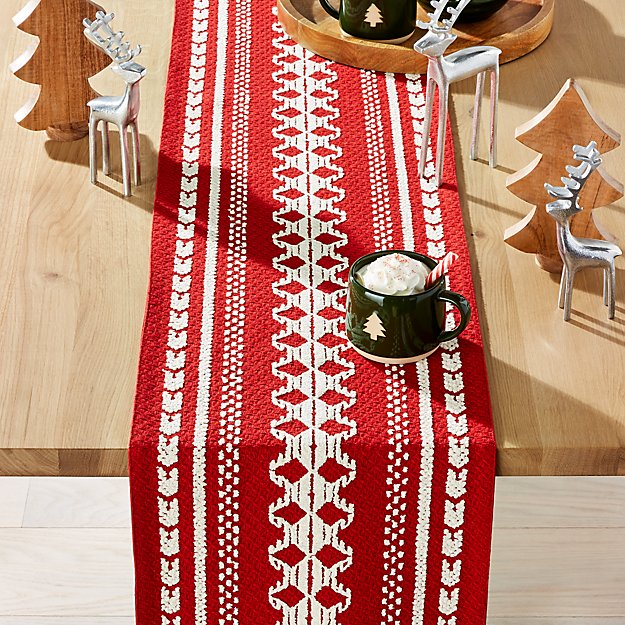 "Noelle Nordic 90"" Red Table Runner - Image 1 of 5"