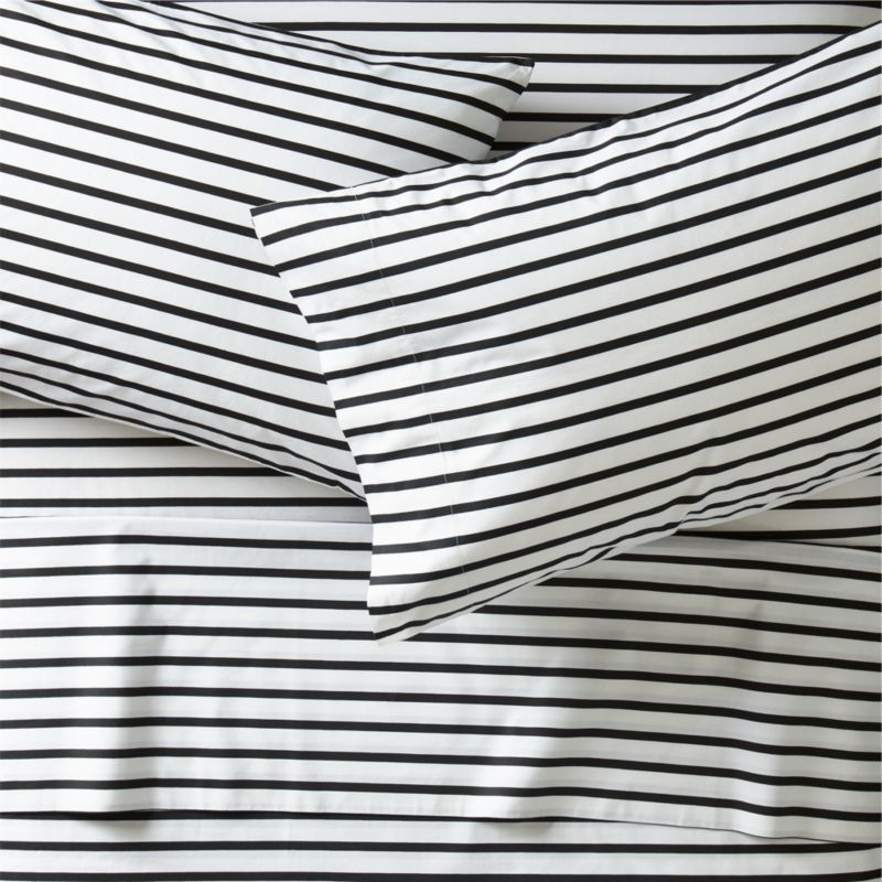 Black And White Stripe Sheets Queen Crate And Barrel
