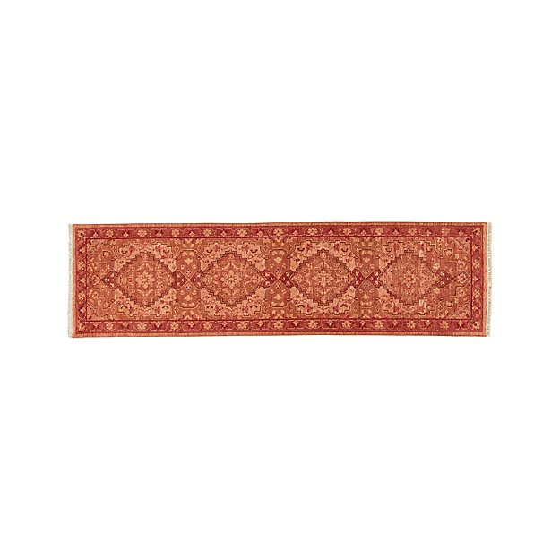 Nola Red Hand Knotted Rug 2.5'x9' - Image 1 of 3
