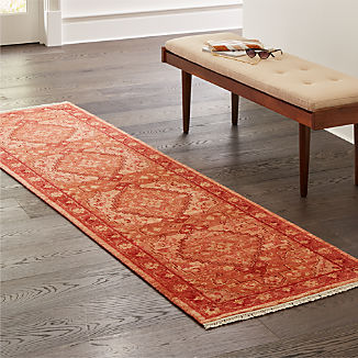 Nola Red Hand Knotted Rug 2.5'x9'