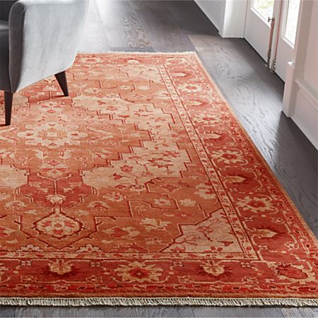 Nola Red Hand Knotted Rug Crate And