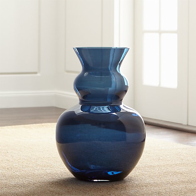 Nona Blue Glass Floor Vase Crate And Barrel