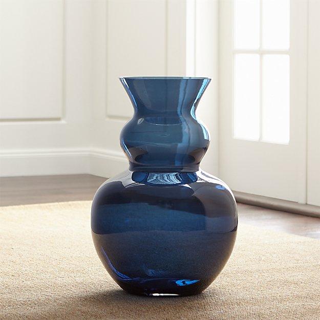 Nona Blue Glass Floor Vase