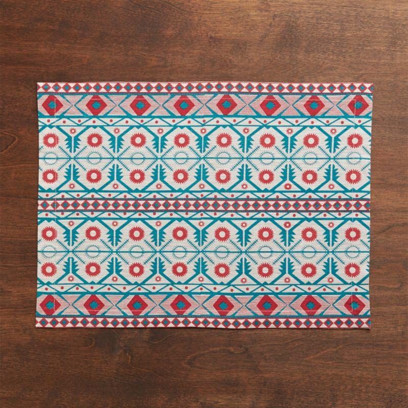 Cotton placemat trellises intricate and ethnic in festive green and red pattern.<br /><br /><NEWTAG/><ul><li>100% cotton</li><li>Machine wash cold, dry flat; warm iron as needed</li><li>Made in India</li></ul>