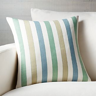 "Norma Stripe 18"" Pillow with Down-Alternative Insert"