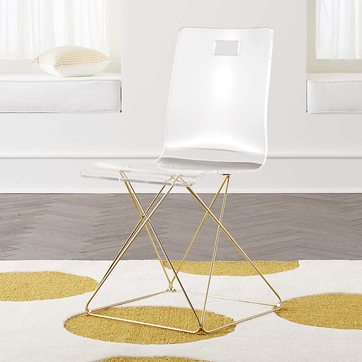 Image of: Kids Now You See It Acrylic Desk Chair With Gold Base Reviews Crate And Barrel