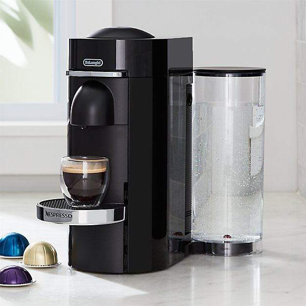 nespresso by delonghi vertuo deluxe plus black coffee maker crate and barrel. Black Bedroom Furniture Sets. Home Design Ideas