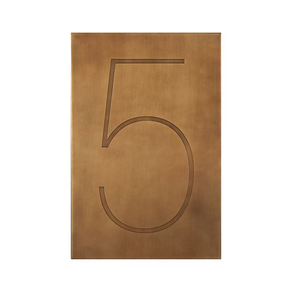 Brass Number 5 Wall Art