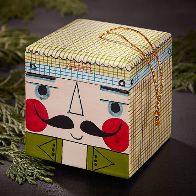 Green Nutcracker Wood Box Ornament