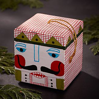 Red Nutcracker Wood Box Ornament