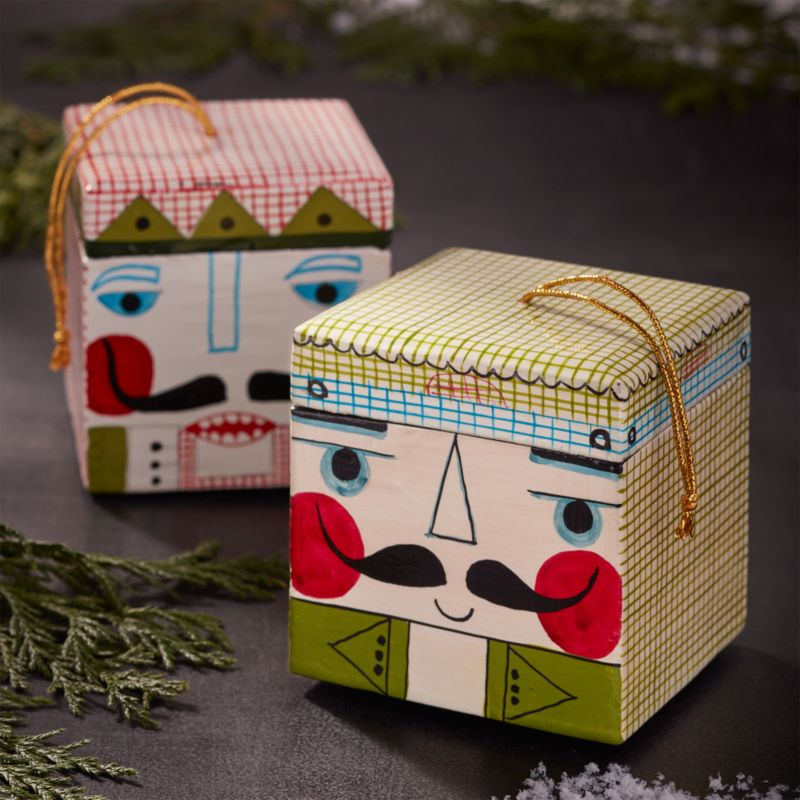nutcracker wood box ornaments crate and barrel - Wooden Box Christmas Decorations