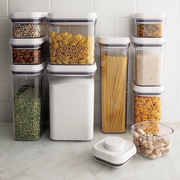 plastic container for kitchen storage oxo pop rectangular 1 5qt container with lid reviews 7504