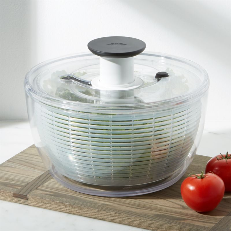 oxo large salad spinner reviews crate and barrel. Black Bedroom Furniture Sets. Home Design Ideas