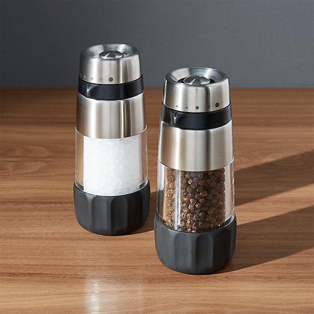oxo salt and pepper grinders crate and barrel. Black Bedroom Furniture Sets. Home Design Ideas