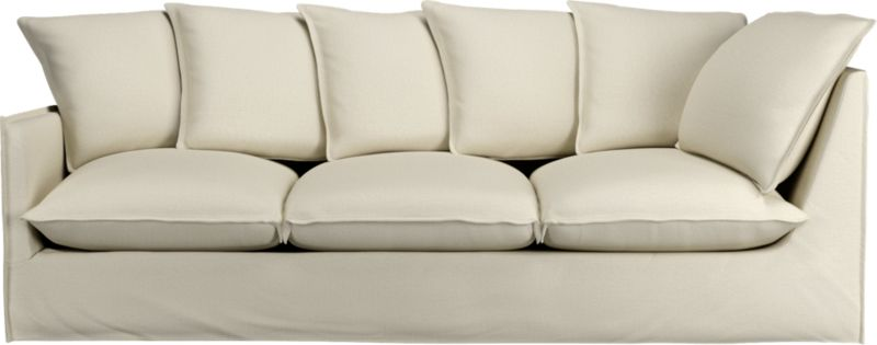 "Slipcover for Oasis Left Arm 98"" Corner Sofa is 100% linen tailored fresh with a fashionable flanged edge and casual drape at the floor.<br /><br />Additional <a href=""http://crateandbarrel.custhelp.com/cgi-bin/crateandbarrel.cfg/php/enduser/crate_answer.php?popup=-1&p_faqid=125&p_sid=DMUxFvPi"">slipcovers</a> available below and through stores featuring our Furniture Collection.<br /><br />After you place your order, we will send a fabric swatch via next day air for your final approval. We will contact you to verify both your receipt and approval of the fabric swatch before finalizing your order.<br /><br /><NEWTAG/><ul><li>100% linen</li><li>Dry cleaning recommended</li></ul><br />"