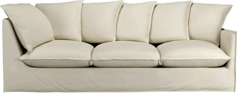 "Slipcover for Oasis Right Arm 98"" Corner Sofa is 100% linen tailored fresh with a fashionable flanged edge and casual drape at the floor.<br /><br />Additional <a href=""http://crateandbarrel.custhelp.com/cgi-bin/crateandbarrel.cfg/php/enduser/crate_answer.php?popup=-1&p_faqid=125&p_sid=DMUxFvPi"">slipcovers</a> available below and through stores featuring our Furniture Collection.<br /><br />After you place your order, we will send a fabric swatch via next day air for your final approval. We will contact you to verify both your receipt and approval of the fabric swatch before finalizing your order.<br /><br /><NEWTAG/><ul><li>100% linen</li><li>Dry cleaning recommended</li></ul><br />"