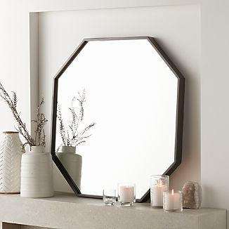 Octagon Grey Oak Wall Mirror