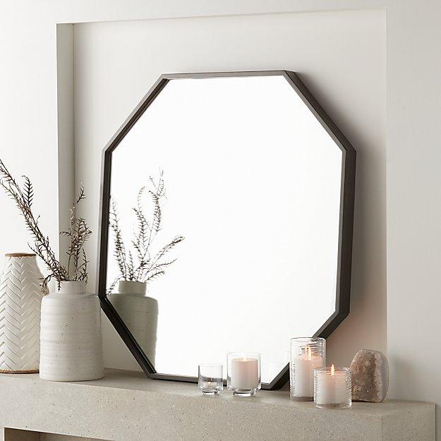 Octagon Grey Oak Wall Mirror - Image 1 of 5