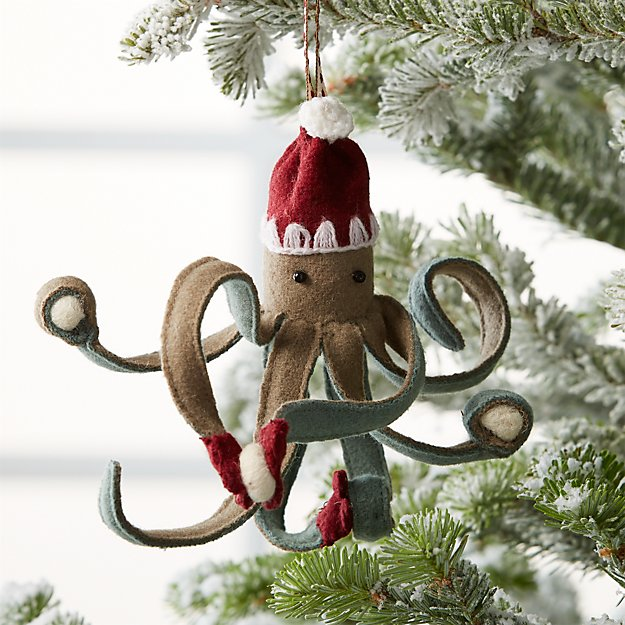 octopus ornament with snowballs reviews crate and barrel - Narwhal Christmas Decoration