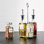 Oil, Vinegar, Parmesan & Pepper Bottles Set of Four