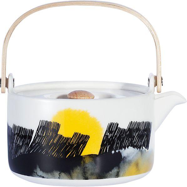 Marimekko Oiva Black and Yellow Teapot
