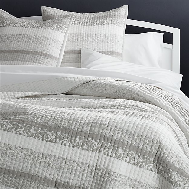 Oleana King Quilt | Crate and Barrel : king gray quilt - Adamdwight.com