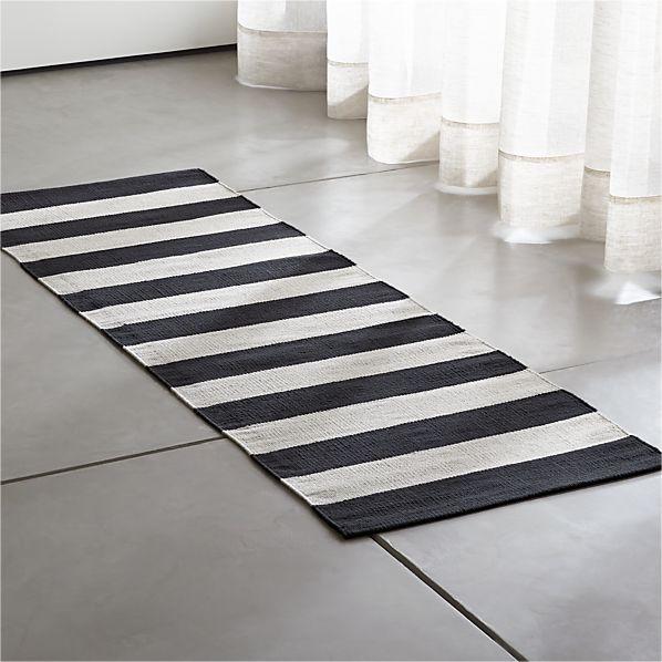 Olin Black Striped Cotton Dhurrie 2'x6' Rug Runner
