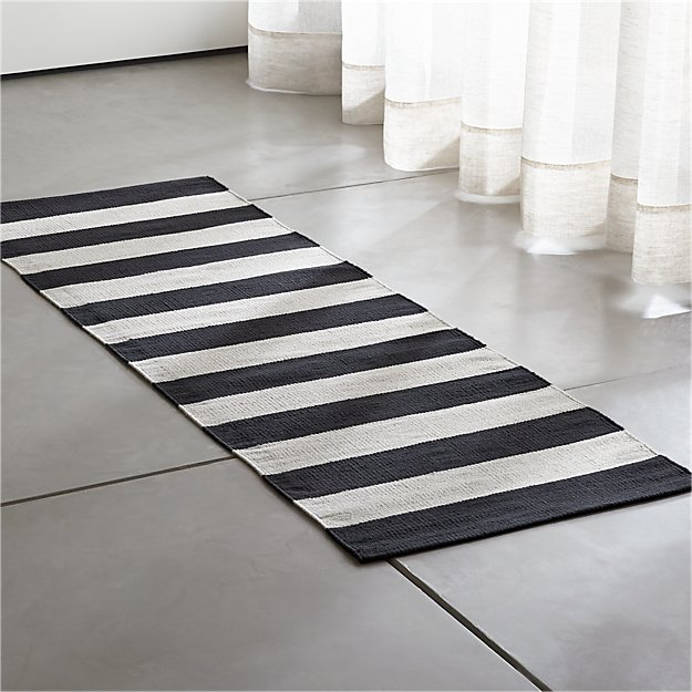Olin Black Striped Cotton Dhurrie 2 X6 Rug Runner In