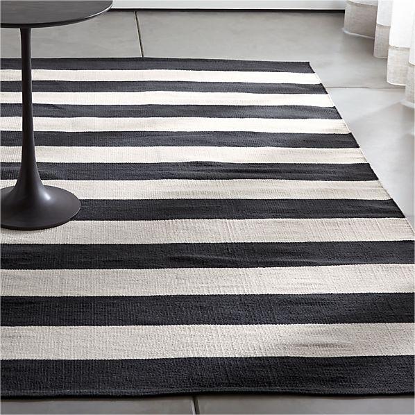 Olin Black Striped Cotton Dhurrie Rug