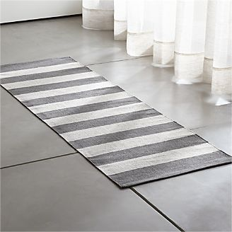 Olin Grey Striped Cotton Dhurrie 2 X6 Rug Runner