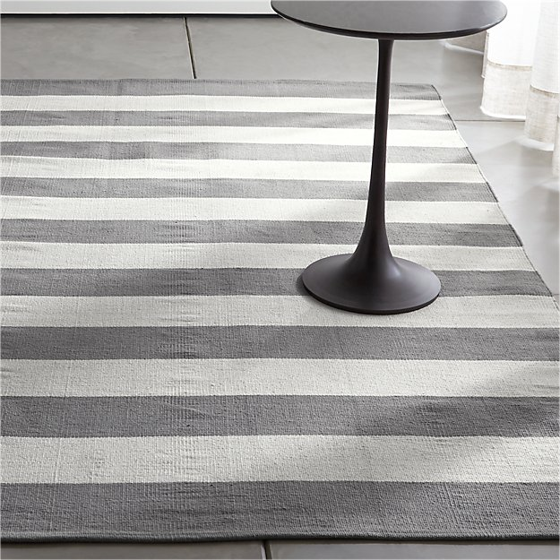 olin grey striped cotton dhurrie rug | crate and barrel