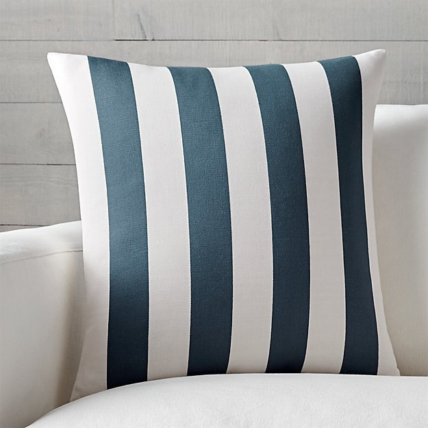 "Olin 20"" Ivory-Indigo Blue Striped Pillow with Down-Alternative Insert"