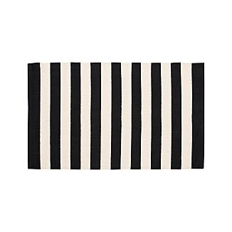 "Olin Black Striped Cotton Dhurrie 30""x50"" Rug"