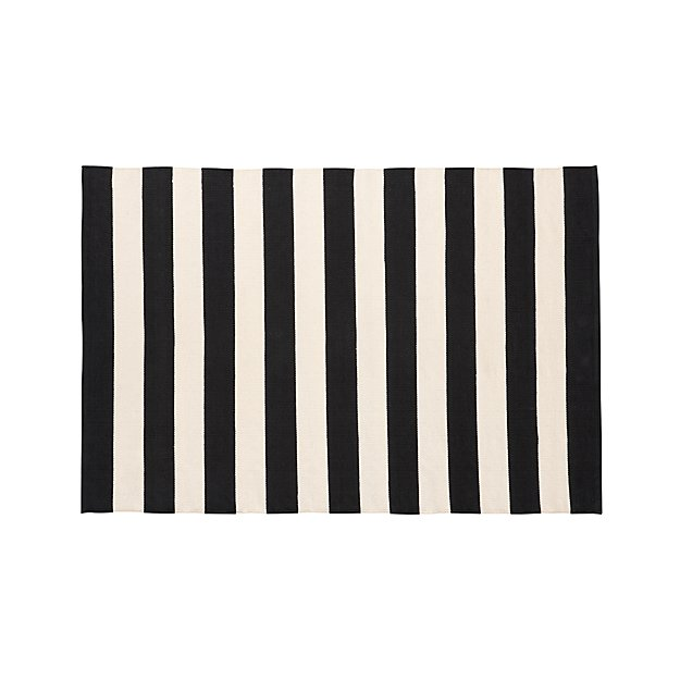 Olin Black Striped Cotton Dhurrie 4'x6' Rug
