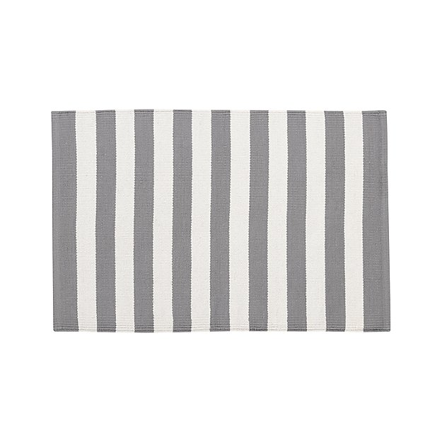 Olin Grey Striped Cotton Dhurrie 2'x3' Rug