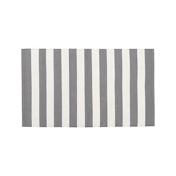 """Olin Grey Striped Cotton Dhurrie 30""""x50"""" Rug"""