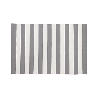 Olin Grey Striped Cotton Dhurrie 4'x6' Rug